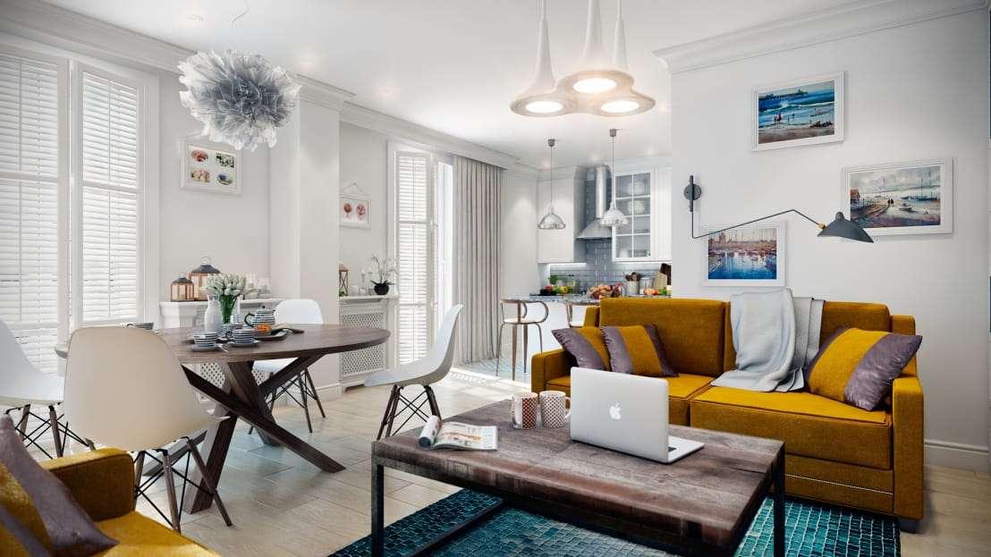 Дизайн двухкомнатной квартиры: индустриально стильный интерьер